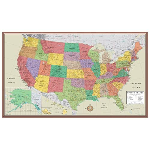 Top 24x36 United States, USA Contemporary Elite Wall Map Poster (24x36 LAMINATED) for cheap