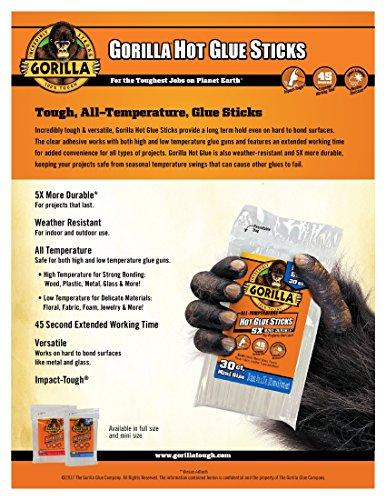 "Gorilla Hot Glue Sticks, Full Size, 4"" Long x .43"" Diameter, 45 Count,Clear, (Pack of 2)"