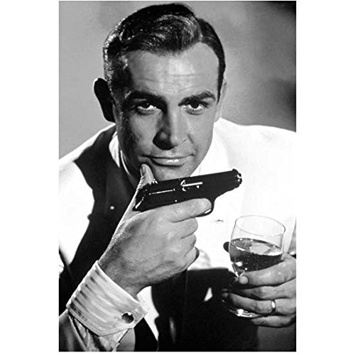 Sean Connery as Bond Seated Holding a Drink and Gun 8 x 10 Inch Photo