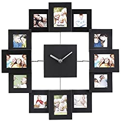 VonHaus Picture Frame Wall Clock - 12 Mini Photo Frames - Crop to Size Friends Family Pictures - Aluminum Black