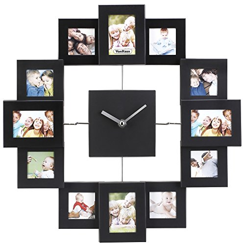 Family Time Photo (VonHaus Picture Frame Wall Clock - 12 Mini Photo Frames - Crop to Size Friends Family Pictures - Aluminum Black)