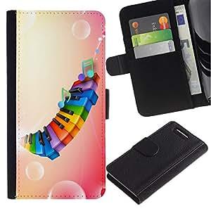 All Phone Most Case / Oferta Especial Cáscara Funda de cuero Monedero Cubierta de proteccion Caso / Wallet Case for Sony Xperia Z1 Compact D5503 // Rainbow Color Piano Pink