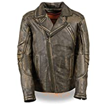 MEN'S MOTORCYCLE BELTLESS DISTRESSED BROWN LEATHER JACKET BUTTER SOFT LEATHER (XL Regular)