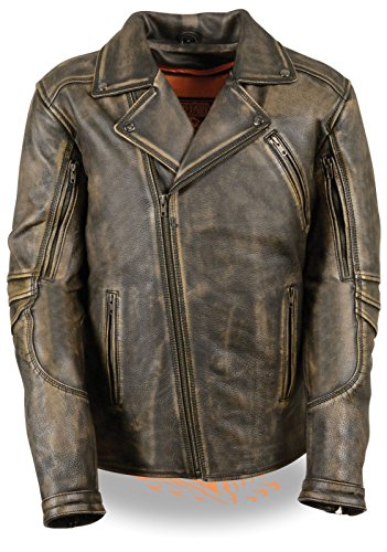 Distressed Brown Leather Motorcycle Jacket - 6