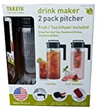 Takeya Drink Maker 2 Pack Pitcher (Pack of 2 / Fruit & Tea Infuser Included) (Black)