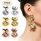 Earring Lifters - 3 Pairs of Adjustable Hypoallergenic Earring Lifts - 1 Pair Gold Plated 1 Pair Silver 1 Pair Rose Gold + Jewelry Case