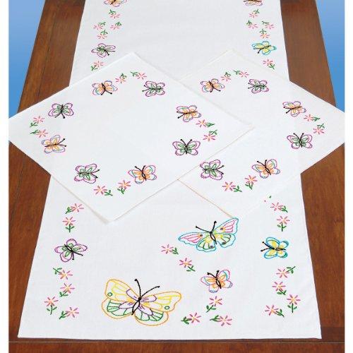 Butterflies Dresser Scarf (Jack Dempsey Stamped Dresser Scarf and Doilies Perle Edge, Fluttering Butterflies)