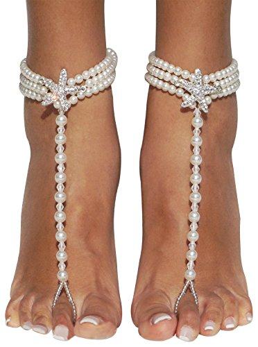 635317f7be21 Bienvenu Starfish Barefoot Sandals Beach Wedding Ankle Bracelets Foot  Jewelry