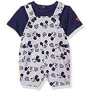 Disney Baby Boys Mickey Knit Shortall Set, Multicoloured, 0-3 Months