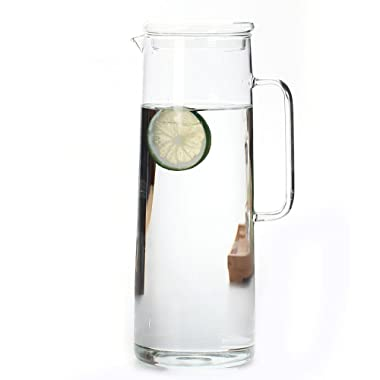 Cupwind Borosilicate Glass Water Carafe Pitcher with Infuser Lid Explosion-Proof Heat Resistance 50 oz