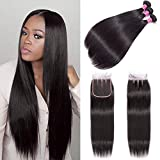 (16' 16' 16') Brazilian Human Hair Straight Bundles with Lace Closure 4x4 Three Part 14 Inch For Women Human Straight Hair Wigs 100% Unprocessed Brazilian VirgiHuman Hair Extension Natural Color