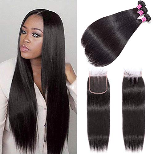 """(14"""" 14"""" 14"""") Straight Brazilian Human Hair Bundles with Lace Closure 4x4 Three Part 12 Inch for Women Human Hair Wigs 100% Unprocessed Brazilian Virgin Human Hair Extension Natural Color"""