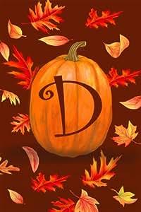 D Pumpkin Leaves Monogram Mini Flag