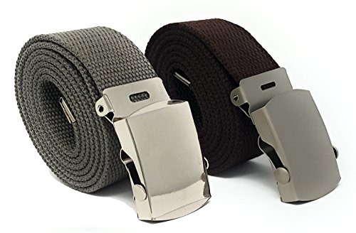 Men's Canvas Belt - Many Colors with Automatic Buckle by Pointed Designs - Pack of 2 … (Tan, Brown)