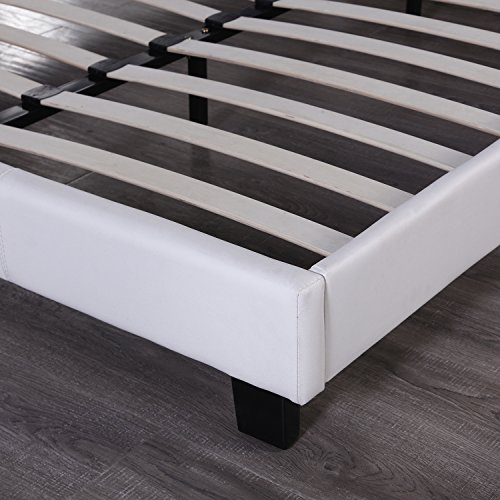 Walcut Contemporary White Leather Bed Frame Slat stunning Design