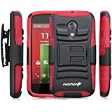 Fosmon STURDY Shock Absorbing Dual Layer Hybrid Holster Cover Kickstand Case for Motorola Moto G (1st Generation Only) / Motorola DVX - Retail Packaging (Red)