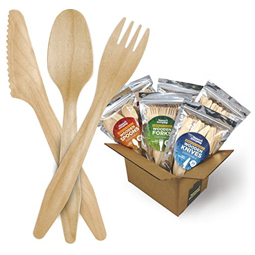 Large Full-Size Disposable Wooden Cutlery Combo Party Pack | 216 Extra Strong Deluxe Pieces (72 Forks, 72 Spoons, 72 Knives) in 6 Convenient Resealable Bags | 100% Natural | FSC Certified Birch Wood - Natural Birch Kitchen Set