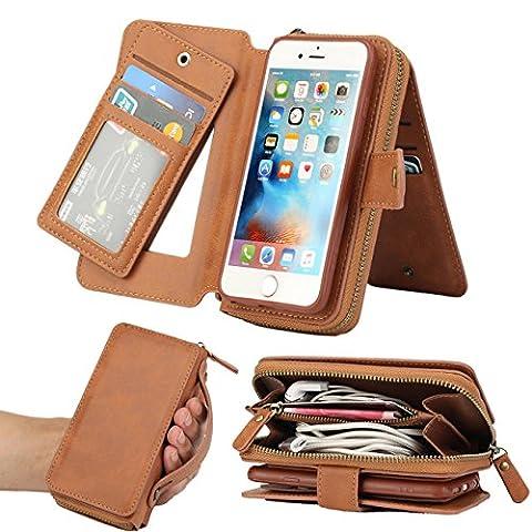 GD Iphone 6plus Wallet Case ,Handbag Wallet Case Purse Premium Leather Zipper Purse Make up Mirror Detachable Removable Magnetic Case with Flip Card Holder Cover Pocket for Iphone6 Plus. (BRG (Iphone6 Plus Case Card Holder)