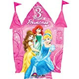 Disney Princess Happy 3rd Birthday 26″ Balloon Pink Castle Shape with Belle Ariel and Cinderella, Health Care Stuffs