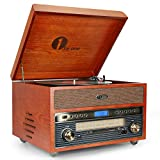 1byone Nostalgic Wooden Turntable Wireless Vinyl Record Player with AM/FM, CD, MP3 Recording to USB,AUX Input for Smartphones&Tablets and RCA Output