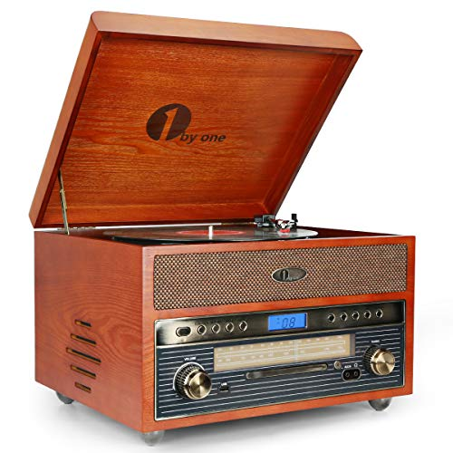 1byone Nostalgic Wooden Turntable Wireless Vinyl Record Player with AM/FM, CD, MP3 Recording to USB, AUX Input for Smartphones & Tablets and RCA Output (Record Player Jukebox)