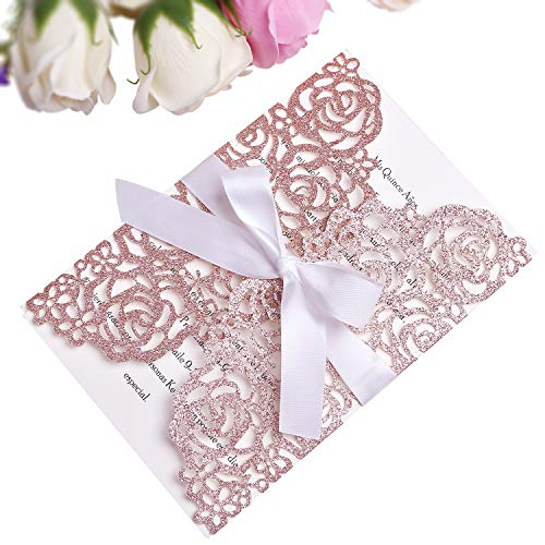 PONATIA 25PCS 250GSM 5.12 x 7.1'' Glitter Wedding Invitations Cards Laser Cut Hollow Rose With White Ribbons For Bridal Shower Engagement Birthday Graduation (Rose Gold ()