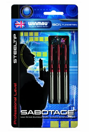 Winmau Sabotage 90% Tungsten Alloy Professional Level Steel Tip Darts (22-Gram) by Winmau