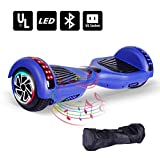 "Neja 6.5"" Bluetooth Hoverboard -Self Balancing Scooter 2 Wheel Electric Scooter - UL Certified 2272 Bluetooth W/Speaker, LED Wheels And LED Lights (Chrome Blue)"