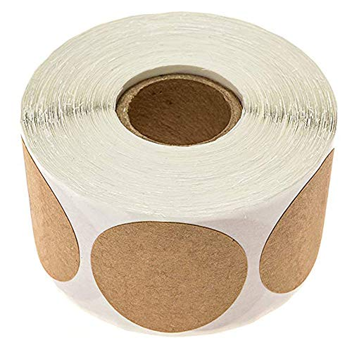 Baking Stickers Brown Kraft Paper Self-Adhesive Labels for Envelope Seal Wedding Birthday Party Baking Food Card Christmas Gift Present Decorative Package Wrap 500PCS Per Roll (Writable)