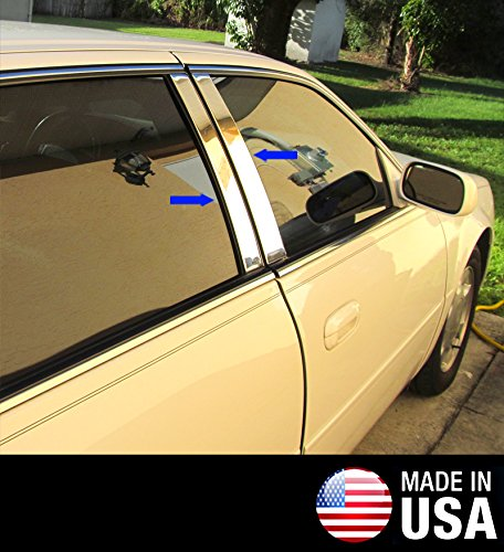 Made in USA! Works With 00-05 Cadillac Deville DTS 4 PC Stainless Steel Chrome Pillar Post Trim ()