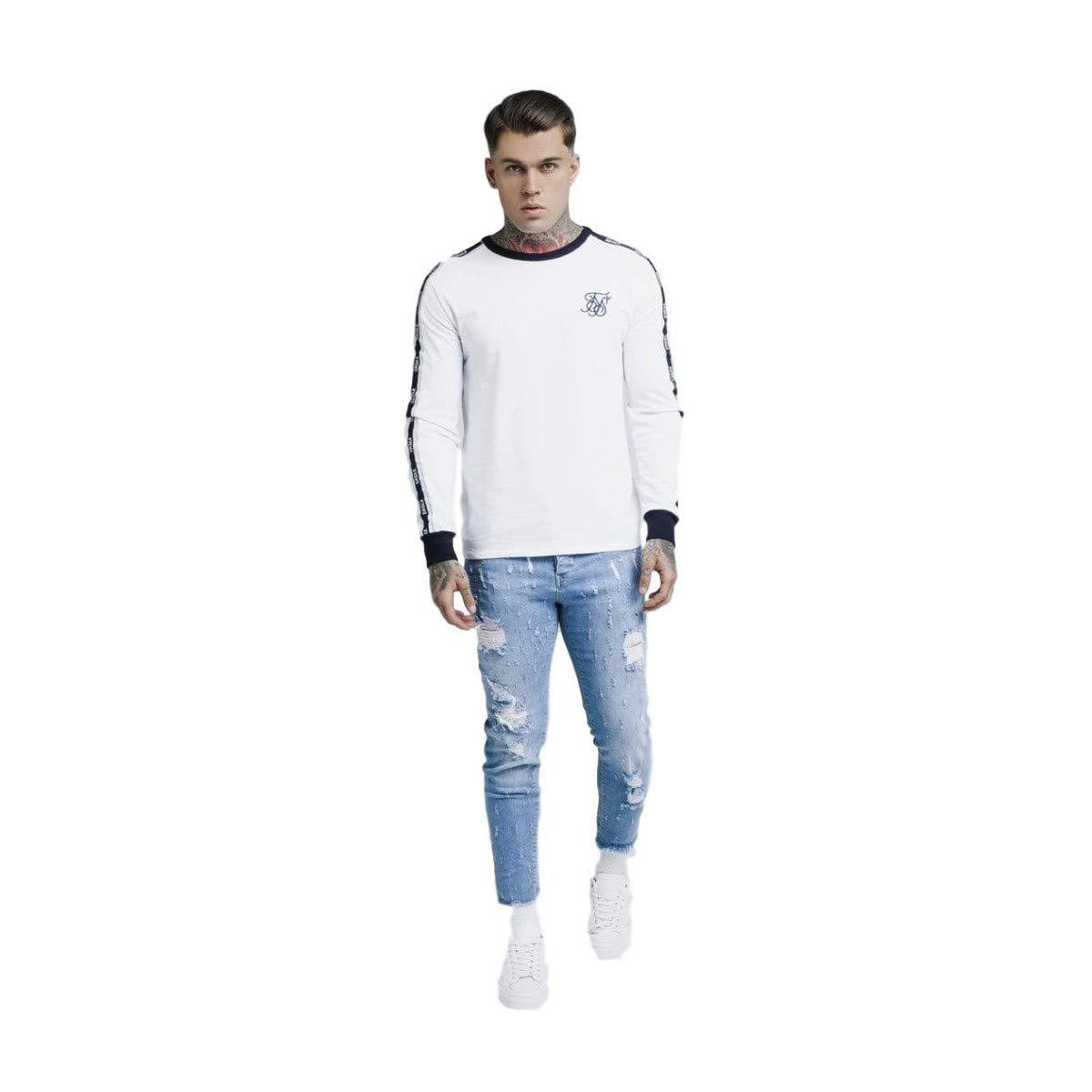 Blanco Sik Silk Hombre Camiseta de Manga Larga con Estampado en Contraste
