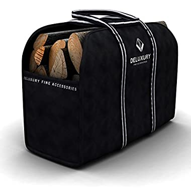 Firewood Carrier - Deluxury Fireplace Accessories: Max Load Canvas Log Tote and Bag