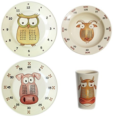 The Multiples Times Table Dinnerware Award-Winning 4-piece Early Years Set Early Years Plates