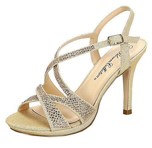 Marcie-38 Womens Shimmer Formal Strappy Heeled Sandal With Rhinestone Embellishments Nude 6 N4Y7P