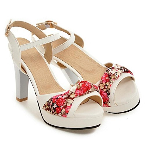 Heel Platform Sandals High White TAOFFEN Women's w6qOAPExW