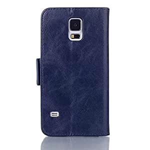 IUNIO Vintage Oil Wax PU Leather Flip Wallet Money Case with ID Card Holder Case Cover For Samsung Galaxy S5 i9600 (Dark Blue)
