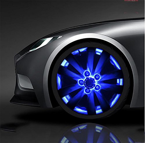 Blue Led Rim - QIEI Car Wheel Rim Light Waterproof Solar Energy LED Flashing Lights Car Tyre Decoration Accessories?4 PCS? , blue