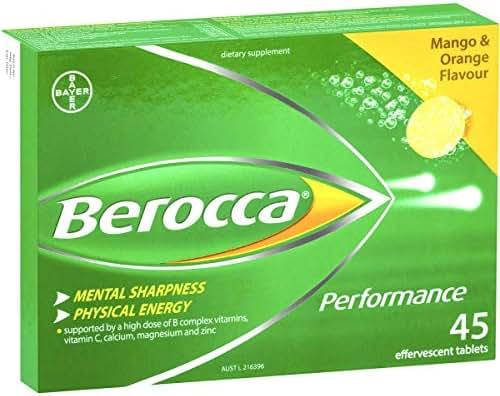 Berocca Mango & Orange 45 Effervescent Tablets 15-Count (Pack of 3)