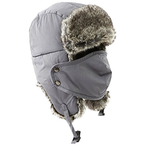 (Winter Fur Trapper Trooper Russian Ushanka Windproof Snow Military Army Hunting Hat for Women Men Grey)