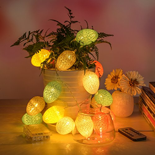 Easter Egg LED String Lights with 20 Led, 8ft 8 Mode Remote Control Easter Day Seasonal Decorations by WEANAS