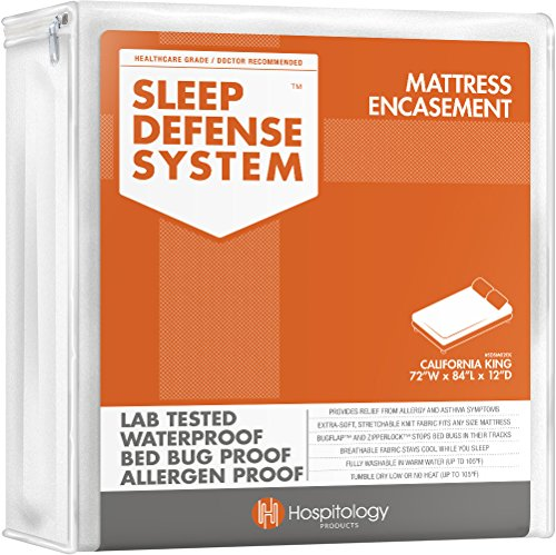 HOSPITOLOGY PRODUCTS Sleep Defense System – Zippered Mattress Encasement – California King – Hypoallergenic – Waterproof – Bed Bug & Dust Mite Proof – Stretchable – Standard 12″ Depth – 72″ W x 84″ L