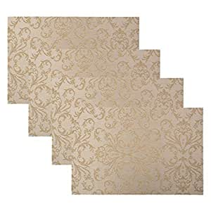 4Pcs/set Table Mats Placemats Heat-resistant Placemats Stain Resistant Anti-skid Washable Golden pattern