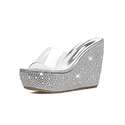 155ba17678 Amazon.com: YXB Women's Wedge Shoes 2019 New Rhinestone Platform Shoes Peep  Toe Slippers Sequined Transparent Sandals Pink Gold Silver,Silver,35:  Garden & ...