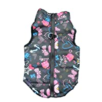 Howstar Pet Camouflage Cold Weather Coat, Small Dog Vest Harness Puppy Winter Padded Outfit Warm Garment (S, Black)