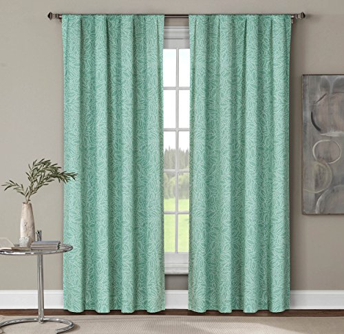 Window Elements Leila Printed Cotton Extra Wide 104 x 84 in. Rod Pocket Curtain Panel Pair, Dusty (Window Covering Ideas)