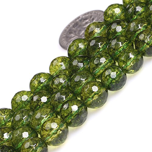 Green Peridot Beads for Jewelry Making Gemstone Semi Precious 8mm Round Faceted 15