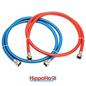 Washing Machine Stainless Steel Braided Water Supply Line Hoses - Premium 6 ft Burst Proof 2 pack Additional Red and Blue Color Coded PVC Layer - Extra Noise Reducing Insulation and Added Protection