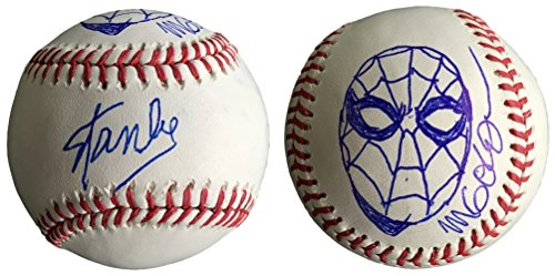Lee Signed Baseball - Stan Lee Signed Baseball Michael Golden Spider-Man Sketch w/Free Cube JSA L26408
