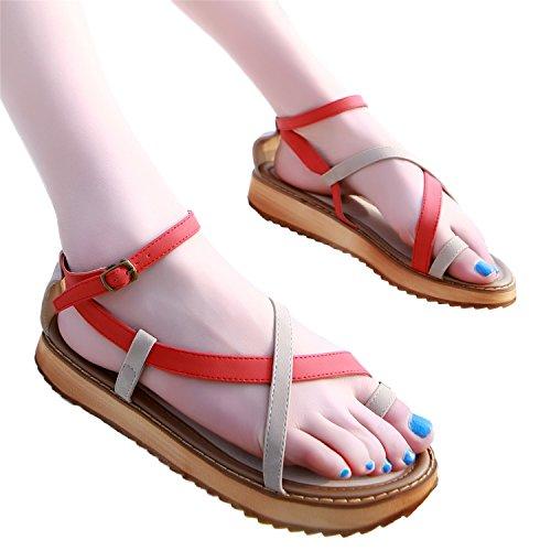 Rouge Bretelle Plate Plateforme Smilun Sandale Croix Sandale Chaussures Compensée Femme RBwYpqz
