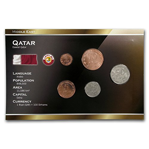 QA 1437 Qatar 1-50 Dirhams 5-Coin Set BU Brilliant, used for sale  Delivered anywhere in USA